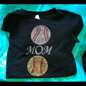 Black Blinged Baseball and Softball Mom T-shirt